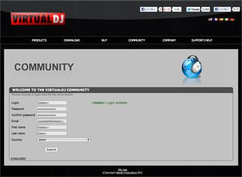 Virtual DJ.comアカウント作成手順2