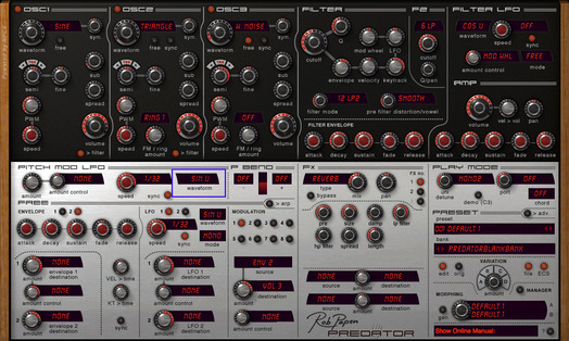 Rob Papen PREDATOR Pitch Mod LFO