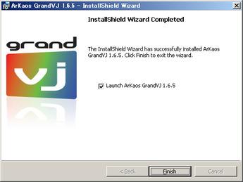 ArKaos GrandVJ インストーラー画面