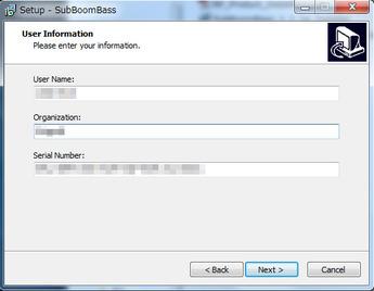 ユーザー情報、本紙裏面記載のシリアル・ナンバーを入力