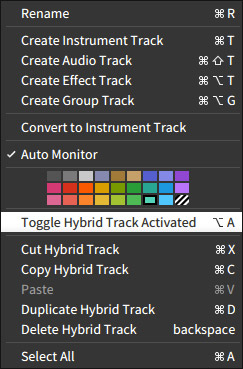 Toggle Track Activated.