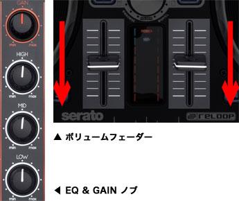 EQ GAIN ボリュームフェーダー