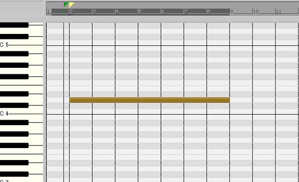 DAWソフトウェアのピアノロールで鍵盤の音域にあわせてMIDIノートを入力