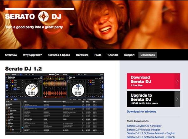 Serato DJ 1.2のダウンロード/インストールサイト
