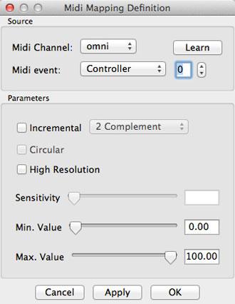 Midi Mapping Definitionメニュー