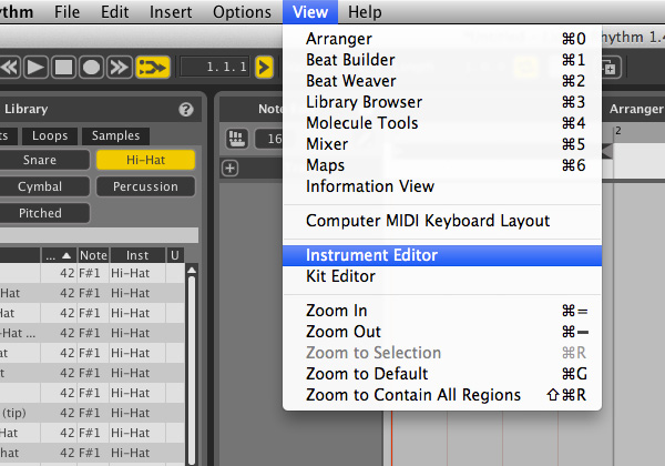 Instrument Editor起動