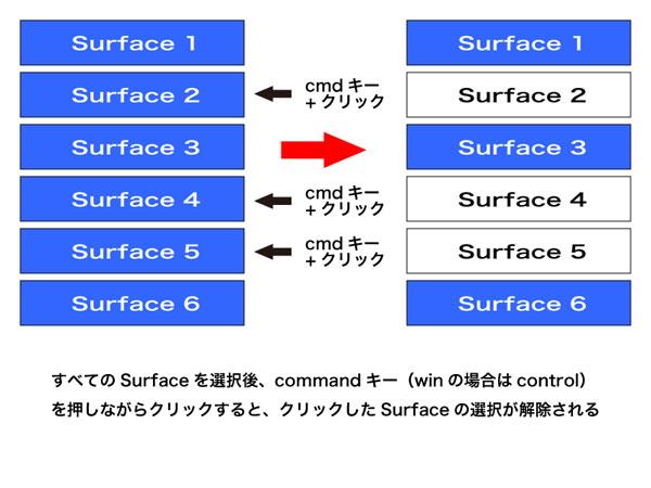 commandを押しながら選択したSurfaceを選択または解除