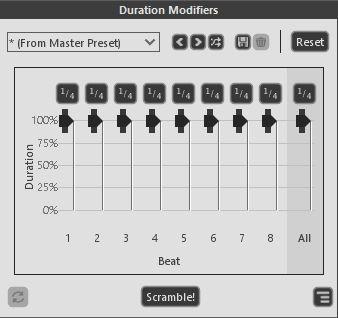 デュレーションモディファイアのスライダーでフレーズ内のニュアンスを調整できる