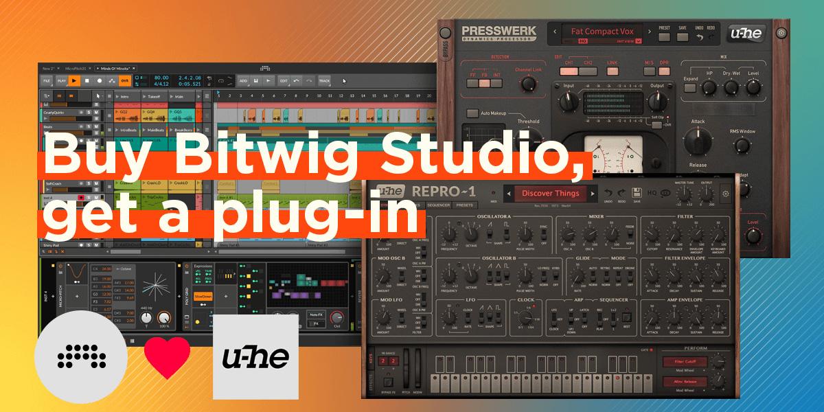 Bitwig Studio 購入者に u-he社プラグインをプレゼント!